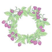 Wreath of raspberries Stock Illustration