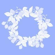 wreath of raspberries - stock illustration
