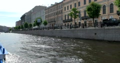 Tour of the canals, Fontanka River, the historic center, Saint Petersburg Stock Footage