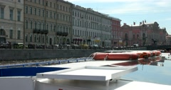 Tour of the canals of Saint Petersburg, Fontanka River, Museum of Democracy Stock Footage