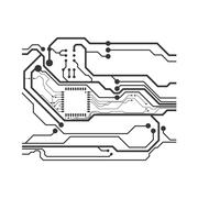 Circuit board icon. Technology design. Vector graphic - stock illustration