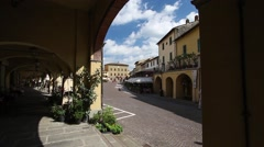 Greve in Chianti, main square seen through the arches, Tuscany, Italy Stock Footage
