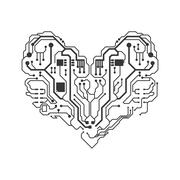 Circuit board heart icon. Technology design. Vector graphic Stock Illustration