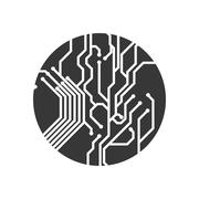 Circuit board circle icon. Technology design. Vector graphic Stock Illustration