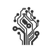Circuit board icon. Technology design. Vector graphic - stock illustration