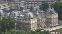Luxembourg Palace Aerial Paris, France Stock Footage