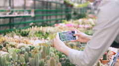 Woman gardener taking picture of green plants with smartphone Stock Footage