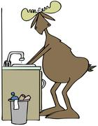 Moose washing his hands in a sink Stock Illustration