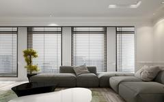Living room interior with blinds and houseplant Stock Illustration
