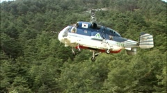 Landscape with Helicopter in Inje-gun, Gangwon-do, Korea Stock Footage
