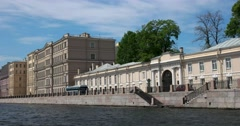 Tour of the canals of Saint Petersburg, river Fontanka, Yusupov Palace Stock Footage