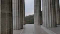 Pan at greek temple look-alike Walhalla monument Stock Footage