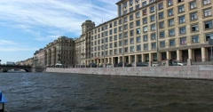 Tour of the canals of Saint Petersburg, Fontanka river, university hostel Stock Footage