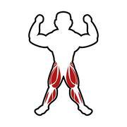 Muscle man icon. Bodybuilder design. Vector graphic Stock Illustration