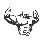 Muscle man icon. Bodybuilder design. Vector graphic - stock illustration