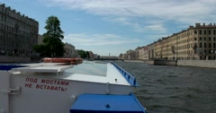 Tour of the canals of Saint Petersburg, Fontanka River, the historic center Stock Footage