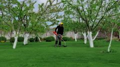 Man trimming grass in the garden using mower Stock Footage