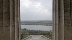 Greek temple look-alike Walhalla monument backplate Stock Footage