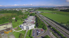 Lausanne UNIL campus aerial shot Stock Footage