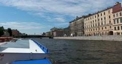 Tour of the canals of Saint Petersburg,  Fontanka River, Bridge Krasnoarmeysky Stock Footage