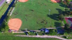 AERIAL - Baseball kids - stock footage