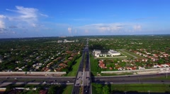 AERIAL - highway view of an intersection.  Stock Footage