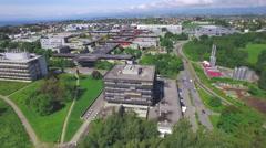 Futuristic green eco city aerial shot Stock Footage