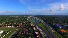 AERIAL - view of a highway with a nice skyline.  - stock footage