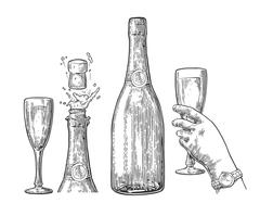 Bottle of Champagne explosion and hand hold glass. - stock illustration