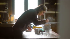 Woman Preparing Morning Breakfast Stock Footage