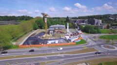 Building site aerial drone shot Stock Footage