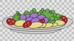 Chow dish food sketch illustration hand drawn animation transparent Stock Footage