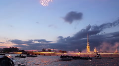 Flashes Of Fireworks And Peter And Paul Fortress Stock Footage