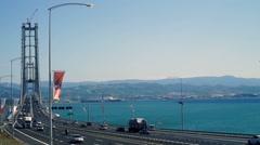 Gulf bridge. City highway traffic Stock Footage