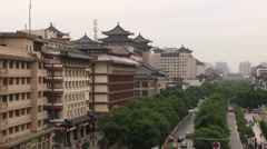 View to the historical Drum tower from the Bell tower in downtown Xian, China. Stock Footage