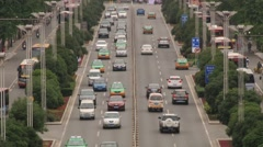 View to the heavy traffic jam at the street of Xian, China. Stock Footage