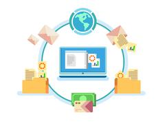 Electronic document management - stock illustration