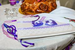 Wedding invitation on the table Stock Photos