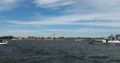 Tour of the canals, Neva river, Peter and Paul fortress, Saint Petersburg Stock Footage