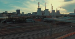 Aerial View of Thermal Power Plant with Huge Cooling Towers Stock Footage