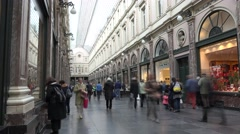 Timelapse people walking in Galeries Royales Saint-Hubert of Brussels Stock Footage