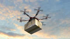 Drone Hexacopter delivers a package Stock Footage