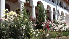 White columns house and flourish garden Stock Footage