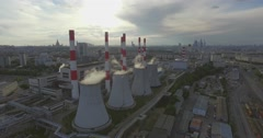Thermal Power Plant with Huge Cooling Towers Stock Footage
