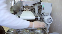 In airport factory the male worker is sorting the food container Stock Footage