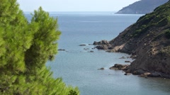 Green pine tree, blue sea and mountain coast of Skiathos Island in Greece Stock Footage
