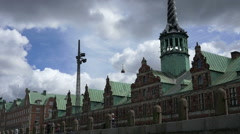 Passing by Børsen old stock exchange building in Copenhagen Stock Footage