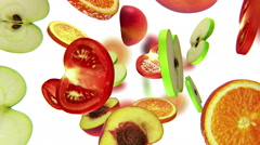Sections of fruits fall from the top on white background, seamless loop, CG Stock Footage