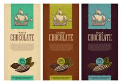 Set of label for chocolate with fruits of cocoa beans and sailing ship floati - stock illustration