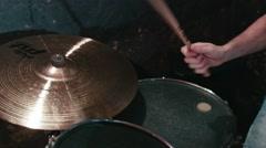 Drummer performs in underground club Stock Footage